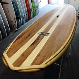 Paddle surf de Madera de Cedro real y samba - Modelo Dolphin 9,6 vista nose